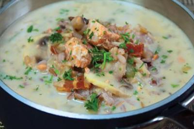Laxsoppa med ris recept